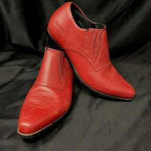 Durango Low cut Boots Shoe size 6 Red Leather Cuban Heel Country Western PO61972
